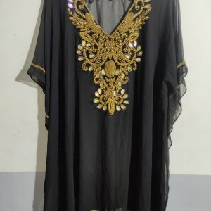 Hand Beaded Short Kaftan in Black