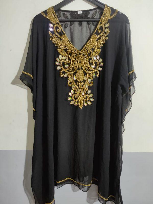 Hand Beaded Short Kaftan in Black